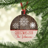 Personalized Ornament Christmas 2020 Family Name Rustic Faux Wood Snowflakes Custom Gift