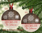 Personalized Ornament Christmas 2019 Family Name Rustic Faux Wood Snowflakes Custom Gift