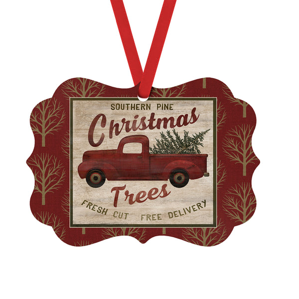 Red Truck Christmas Ornament, Southern Pine Christmas Trees Fresh Cut Free Delivery