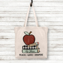 Teach Love Inspire Linen Tote Bag for Teachers with Custom Name and Apple Pencil and Books, 2 sizes