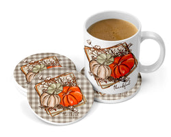 Thankful Sandstone Coasters for Home with Pumpkins, Thanksgiving Coasters Set of 2 or 4