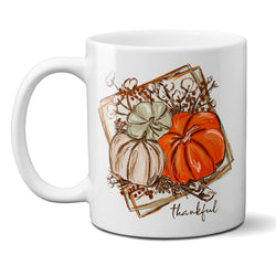 Thankful Ceramic Mug with Pumpkins and Cotton Fall Thanksgiving Gift Cup, 11 or 15 ounce