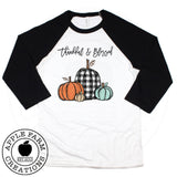 Thankful and Blessed Black Raglan Shirt with Buffalo Plaid Pumpkins
