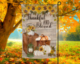 Thankful and Blessed Garden Flag with Pumpkins and Sunflowers over Distressed Wood Background 12x18