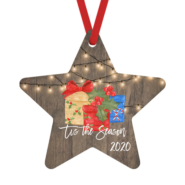 Tis the Season 2020 Christmas Ornaments String White Lights over Barnwood and Wrapped Gifts, Star
