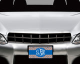 Aluminum License Plate with Personalized Monogram and Orange and Blue Patterned Background