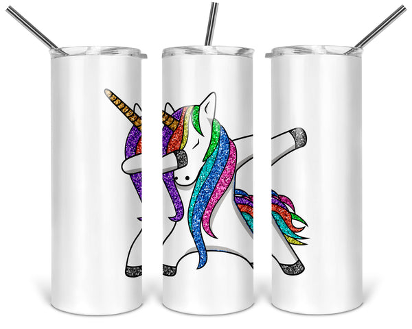 Dabbing Rainbow Unicorn 20 oz Skinny Tumbler with Lid and Straw Funny Sarcastic Cup Travel Mug
