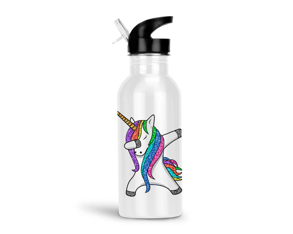 Dabbing Unicorn 20oz Aluminum Water Bottle with Flip Straw Lid, Rainbow Unicorn Water Bottle