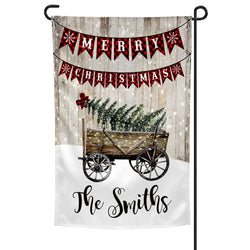 Personalized Merry Christmas Yard Flag Vintage Wagon and Farmhouse Christmas Tree Wood Background