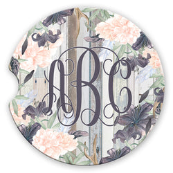 Personalized Western Boho Floral Monogram Sandstone Car Coasters Grey Wood Background, Set of 2