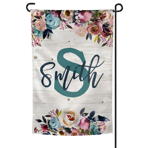 Personalized Garden Flag with Boho Floral Arrangement over White Wood Background 12x18 inches