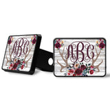 Red Rose Antlers Monogram Trailer Hitch Cover Custom Name White Distressed Wood Background