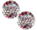 Sandstone Car Coasters Personalized Monogram Red Rose Antlers White Wood Background, Set of 2