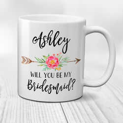 Ceramic Coffee Mug Will You Be My Bridesmaid Personalized Bridesmaid Proposal Gift with Custom Name Pink Floral Arrow