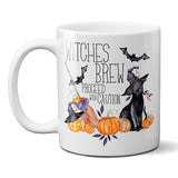 Witches Brew Coffee Mug with Black Cat Jack-O-Lantern and Broom Halloween Coffee Cup