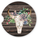 Sandstone Car Coasters Green Succulent Boho Floral Bull Skull Brown Distressed Wood Background