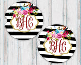 Sandstone Car Coasters Personalized Monogram Gold Frame Boho Flowers Black and White Striped