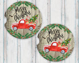 Sandstone Car Coasters Merry Christmas Vintage Red Truck Christmas Tree Distressed Wood Background