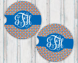 Sandstone Car Coasters Personalized Monogram Orange and Blue Patterned Background, Set of 2