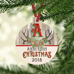 Christmas Ornament with Custom Name and Initial in Reindeer Antlers with Holly Christmas 2019