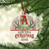 Christmas Ornament with Custom Name and Initial in Reindeer Antlers with Holly Christmas 2020