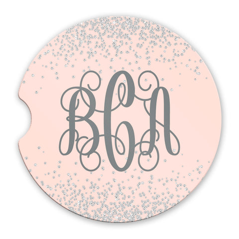Sandstone Car Coasters Personalized Monogram Printed Diamond Confetti Pink Background Set of 2