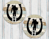 Sandstone Car Coasters Personalized Initial Cowboy Horseshoe Reclaimed Wood Background Set of 2