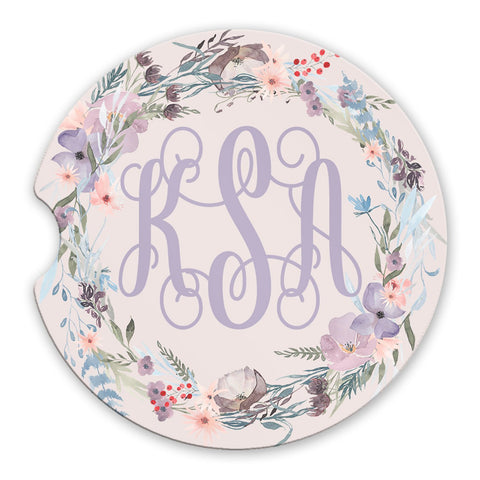 Sandstone Car Coasters Personalized Monogram Pink Lavender Floral Wreath Pink Background, Set of 2