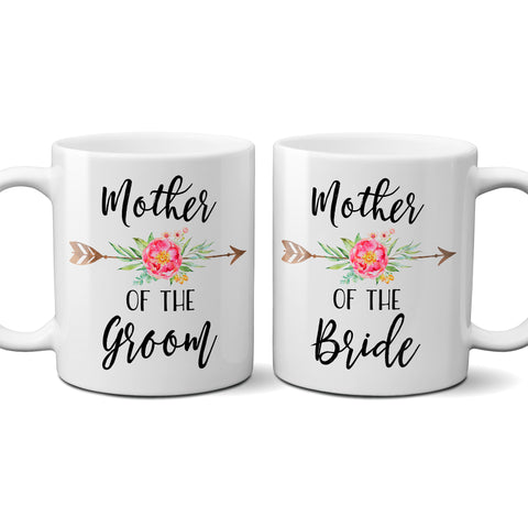 Mother of the Bride or Groom Coffee Mug with Floral Arrow, Personalized Bridal Party Gifts - Pink