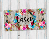 Aluminum License Plate Personalized Monogram Boho Floral Wreath Grey Weathered Barn Wood Background
