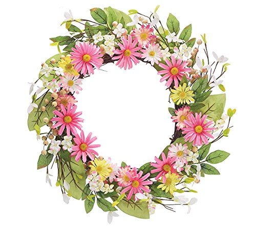 Wreaths - Pink and yellow daisies all around