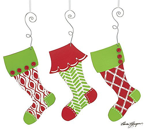 Hand-painted Wood Stocking Ornament Assortment - Findlavender