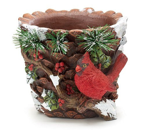 Hand-painted Resin Round Planter with Sculpted Design - Findlavender