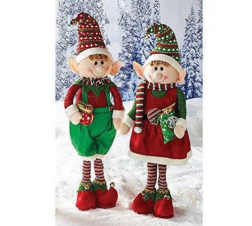 "Boy and Girl Assorted Decor Elves With Fully Expandable Legs - 36"" Tall - Findlavender"