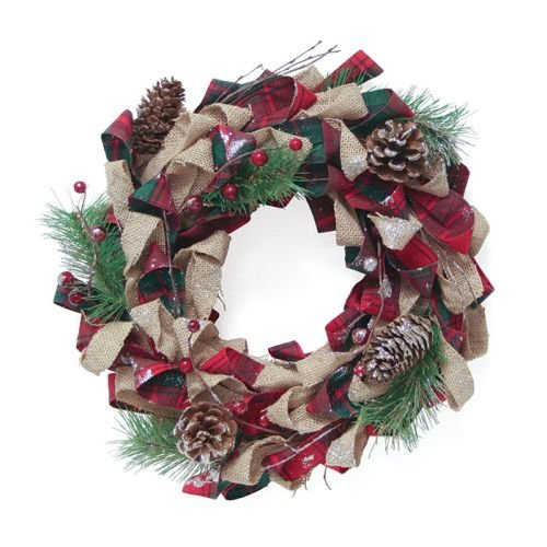"Wreath 15"" Red Plaid/Glitter - Findlavender"