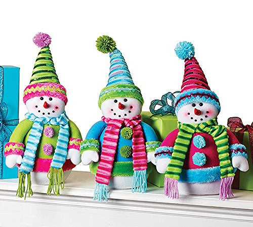 Set of Three Limited Edition Plush Snowmen Christmas Decor in Lime, Blue and Pink - Findlavender
