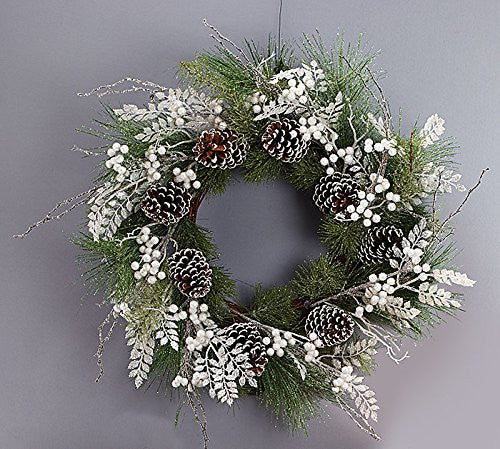 Wreath with Pinecones with Snow, Pine Needles - Findlavender