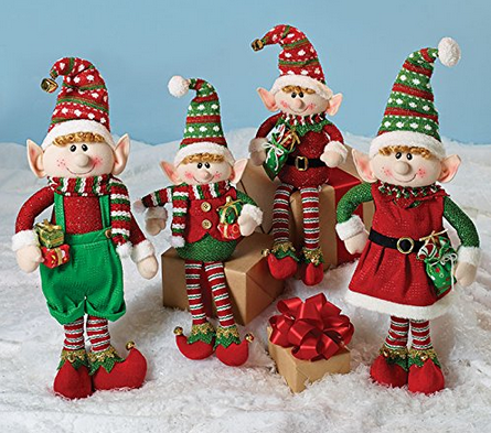 Set of 4 Christmas Elves Plush Figurines for Holiday Home Decor - Findlavender