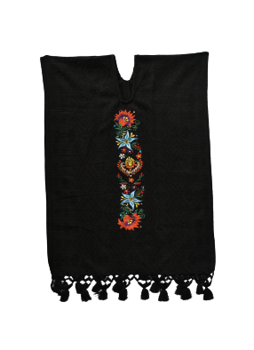 Black and Purple embroidered Poncho