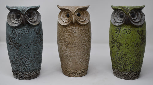 Embossed Owl Vase Set of 3