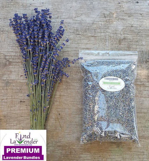 "One 4oz Culinary Lavender & One Culinary Bundle 16"" Long - Findlavender"