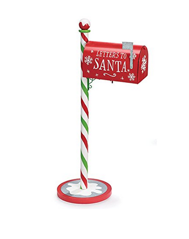 Burton Chirstmas Letters to Santa Galvanized Tin Mail Box Tall Standing with Post - Findlavender