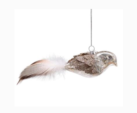 Glass Bird with Feathers Ornament