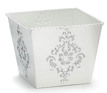White Embossed Tin Planter