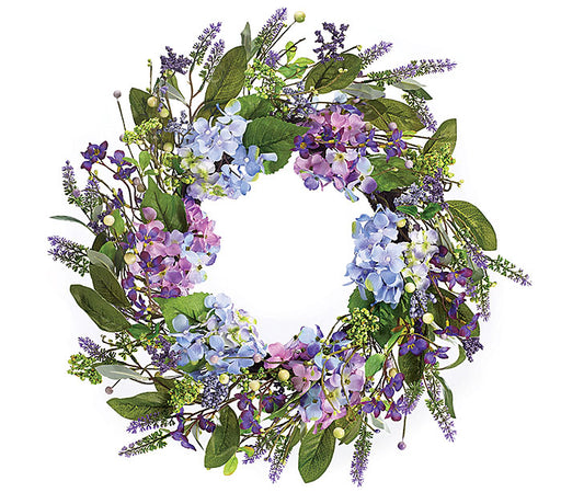 Lavender Hydrangra Silk and Flower Wreath 21 Inch