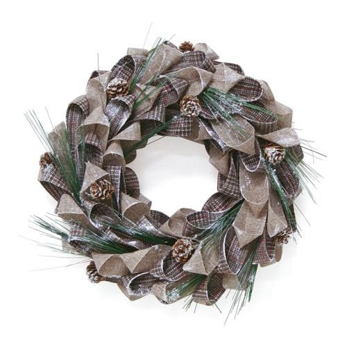 "Wreath 15"" Brown/Beige Plaid"