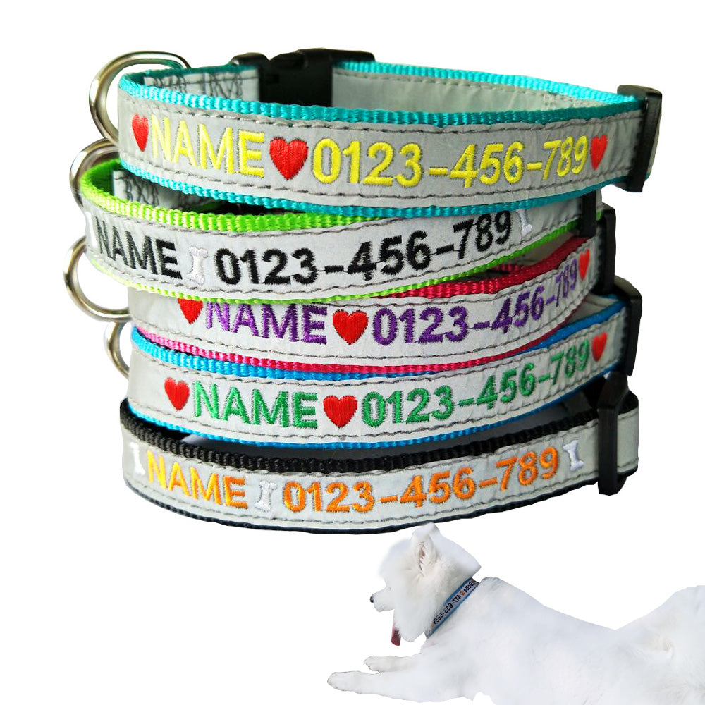 Custom Made Embroidered Reflective Dog Collar