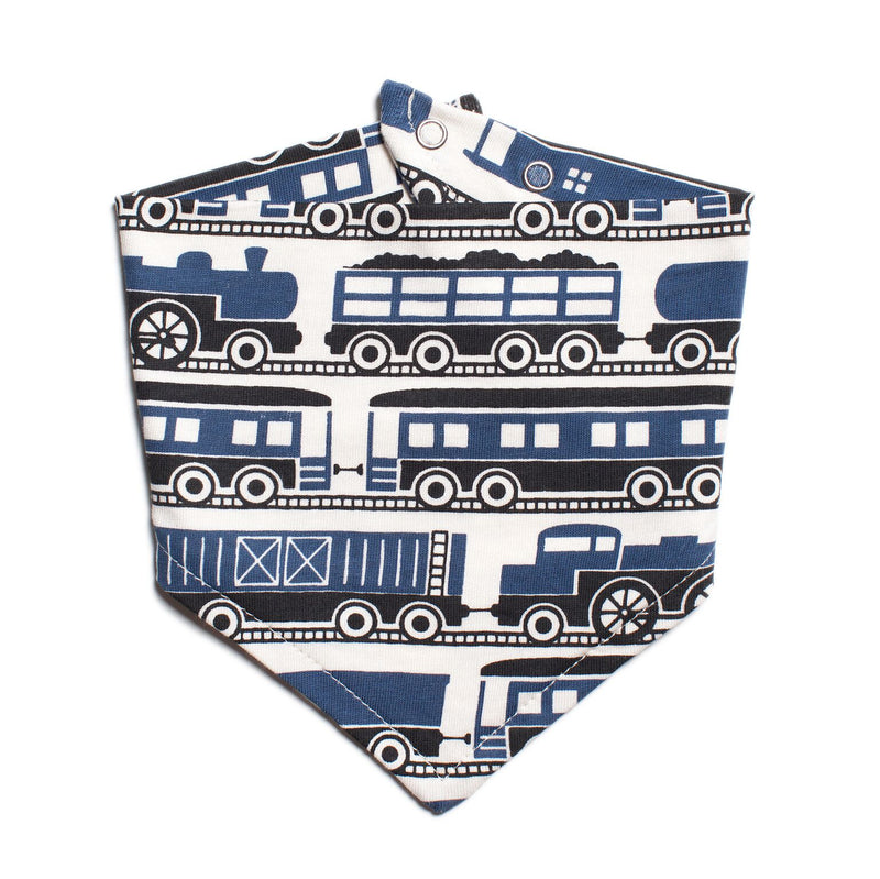 Winter Water Factory Kerchief Bib, Trains Navy