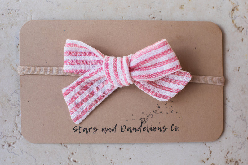 Baby Bow, Seersucker Stripe Pink/White