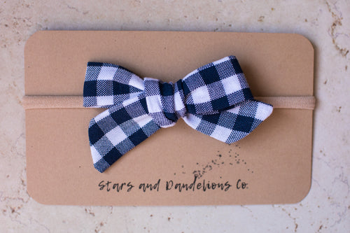 Baby Bow, Navy and White Gingham